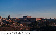 Купить «Panorama of the old city of Toledo, Tagus river, Spain», фото № 29441207, снято 2 ноября 2014 г. (c) Сергей Майоров / Фотобанк Лори