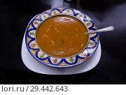 Купить «Moroccan cuisine, Carrot Red Lentil Soup», фото № 29442643, снято 18 февраля 2018 г. (c) Михаил Коханчиков / Фотобанк Лори