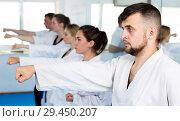 Купить «Adults trying new martial moves at karate class», фото № 29450207, снято 8 апреля 2017 г. (c) Яков Филимонов / Фотобанк Лори