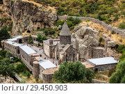 Купить «The monastic complex of Geghard, Kotayk region, Armenia. Top view.», фото № 29450903, снято 22 сентября 2018 г. (c) Наталья Волкова / Фотобанк Лори