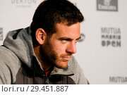 Купить «Juan Martin del Potro press conference during day two of the Mutua Madrid Open tennis tournament at the Caja Magica in Madrid, Spain. Featuring: Juan Martin...», фото № 29451887, снято 6 мая 2018 г. (c) age Fotostock / Фотобанк Лори
