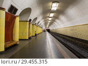 "Купить «The platform of the Moscow metro station ""Rizhskaya"", Moscow, Russia», фото № 29455315, снято 27 августа 2018 г. (c) Наталья Волкова / Фотобанк Лори"