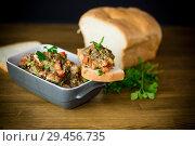 Купить «eggplant caviar with tomatoes and a slice of bread», фото № 29456735, снято 21 ноября 2018 г. (c) Peredniankina / Фотобанк Лори