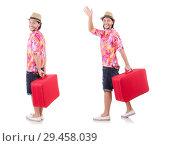 Купить «Tourist with suitcase isolated on white», фото № 29458039, снято 22 ноября 2013 г. (c) Elnur / Фотобанк Лори