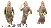 Купить «Blondie in gray satin dress isolated on white», фото № 29458715, снято 17 сентября 2014 г. (c) Elnur / Фотобанк Лори