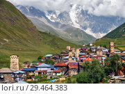 Купить «View on highland georgian svanetian village Ushguli Svaneti, Georgia», фото № 29464383, снято 2 сентября 2018 г. (c) Serg Zastavkin / Фотобанк Лори