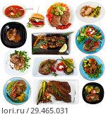 Купить «Set of dishes with cooked fried pork and beef with different vegetables», фото № 29465031, снято 16 сентября 2019 г. (c) Яков Филимонов / Фотобанк Лори