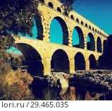 Купить «Famous landmark Roman Bridge Pont du Gard in southern France», фото № 29465035, снято 8 декабря 2017 г. (c) Яков Филимонов / Фотобанк Лори