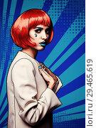 Купить «Female in red wig and in comic pop art make-up style on blue cartoon background», иллюстрация № 29465619 (c) Serg Zastavkin / Фотобанк Лори