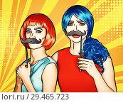 Купить «Females in red and blue wigs. Girls with false moustashes in hands», иллюстрация № 29465723 (c) Serg Zastavkin / Фотобанк Лори
