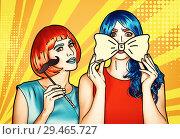 Купить «Females in red and blue wigs. Girls with yellow bow-tie and false moustashes», иллюстрация № 29465727 (c) Serg Zastavkin / Фотобанк Лори