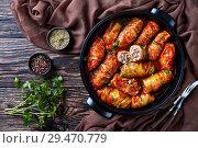 Купить «overhead view of raw cabbage leaves rolls», фото № 29470779, снято 22 ноября 2018 г. (c) Oksana Zh / Фотобанк Лори