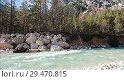 Купить «Mountainous forest with trees leaning over fast creek stream. Grey rocks.», видеоролик № 29470815, снято 24 апреля 2019 г. (c) Константин Шишкин / Фотобанк Лори