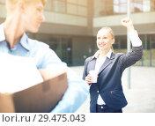Купить «Boss woman is wishing good luck to office worker», фото № 29475043, снято 15 июля 2017 г. (c) Яков Филимонов / Фотобанк Лори