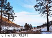 Купить «Baikal Lake winter afternoon. The path along the slope on the shore of the lake to the Kharyuzovaya Bay», фото № 29475671, снято 28 февраля 2015 г. (c) Виктория Катьянова / Фотобанк Лори