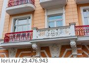 Fragment of Hotel Hvezda-Imperial-Neapol. Spa center of small west Bohemian spa town Marianske Lazne (Marienbad) in winter - Czech Republic (2018 год). Редакционное фото, фотограф Николай Коржов / Фотобанк Лори