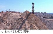 Купить «Conveyor console of the spreader during operation. Transportation of an empty rock to a dump», видеоролик № 29476999, снято 11 сентября 2018 г. (c) Андрей Радченко / Фотобанк Лори