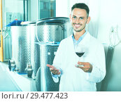 Купить «Male young winemaker in lab coat having glass of wine», фото № 29477423, снято 16 января 2019 г. (c) Яков Филимонов / Фотобанк Лори