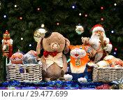 Купить «Christmas and New Year. New Year 2019 symbol - Pig and Christmas toys at State Department Store. Moscow», фото № 29477699, снято 25 ноября 2018 г. (c) Валерия Попова / Фотобанк Лори