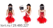 Young fairy with clapperboard isolated on white. Стоковое фото, фотограф Elnur / Фотобанк Лори