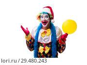 Купить «Young funny clown comedian isolated on white», фото № 29480243, снято 20 июля 2018 г. (c) Elnur / Фотобанк Лори