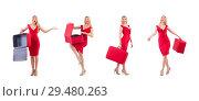 Купить «Woman in red dress and travel case isolated on white», фото № 29480263, снято 30 ноября 2013 г. (c) Elnur / Фотобанк Лори