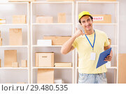 Купить «Handsome contractor working in box delivery relocation service», фото № 29480535, снято 24 июля 2018 г. (c) Elnur / Фотобанк Лори