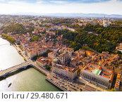 Купить «View from drone of Cathedral, Basilica and Saone, Lyon», фото № 29480671, снято 12 октября 2018 г. (c) Яков Филимонов / Фотобанк Лори
