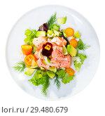 Купить «Tasty seafood ceviche from salmon with avocado, green dill and cumquat», фото № 29480679, снято 26 марта 2019 г. (c) Яков Филимонов / Фотобанк Лори