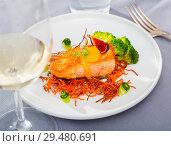 Купить «Steak of fried salmon with smoked carrots, broccoli, cucumbers and fig on plate», фото № 29480691, снято 14 октября 2019 г. (c) Яков Филимонов / Фотобанк Лори