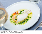 Купить «Fried sepia with green sauce of olive oil with garlic and parsley», фото № 29480727, снято 18 января 2019 г. (c) Яков Филимонов / Фотобанк Лори