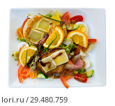 Купить «Salad with goat cheese, orrange, honey and vegetables at plate, french dish», фото № 29480759, снято 6 октября 2018 г. (c) Яков Филимонов / Фотобанк Лори