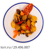 Купить «Pan-fried potatoes with mushrooms and chorizo», фото № 29496887, снято 11 декабря 2018 г. (c) Яков Филимонов / Фотобанк Лори