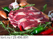 Купить «Slices of raw beef meat», фото № 29496891, снято 21 июня 2019 г. (c) Яков Филимонов / Фотобанк Лори