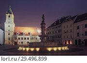 Купить «Night illumination of Main Square in center of Bratislava», фото № 29496899, снято 4 ноября 2017 г. (c) Яков Филимонов / Фотобанк Лори