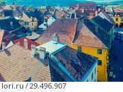 Купить «Image of view from Clock tower in Sighisoara», фото № 29496907, снято 16 сентября 2017 г. (c) Яков Филимонов / Фотобанк Лори
