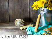 Купить «Gardening. Planting and replanting plants. A bouquet of yellow bright garden flowers in a steel bucket and garden tools on a wooden background in rustic style with a copy space», фото № 29497039, снято 9 сентября 2018 г. (c) Светлана Евграфова / Фотобанк Лори