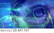 Купить «Science Composition sci0918jf_vid Woman with virtual glasses and abstract illustration colored in gr», видеоролик № 29497107, снято 22 мая 2019 г. (c) Wavebreak Media / Фотобанк Лори