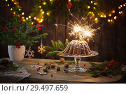Купить «Christmas cake ahd fir branch on dark wooden background», фото № 29497659, снято 25 ноября 2018 г. (c) Майя Крученкова / Фотобанк Лори