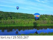 Воздушные шары над каналом имени Москвы. Стоковое фото, фотограф Дмитрий Воробьев / Фотобанк Лори