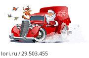 Купить «Cartoon retro Christmas van isolated on white background», иллюстрация № 29503455 (c) Александр Володин / Фотобанк Лори
