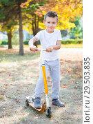 Купить «Joyful little boy», фото № 29503835, снято 25 сентября 2015 г. (c) Сергей Сухоруков / Фотобанк Лори