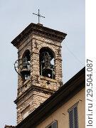 Belfry with cross, Upper town of Bergamo, Italy (2014 год). Стоковое фото, фотограф Виталий Батанов / Фотобанк Лори