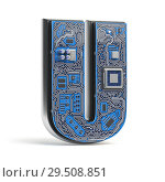 Купить «Letter U. Alphabet in circuit board style. Digital hi-tech letter isolated on white.», фото № 29508851, снято 8 декабря 2019 г. (c) Maksym Yemelyanov / Фотобанк Лори