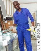 Купить «satisfied African-American workman in blue overalls», фото № 29509435, снято 16 мая 2018 г. (c) Яков Филимонов / Фотобанк Лори