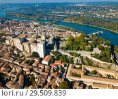 Купить «Aerial view of Avignon with Palais des Papes, France», фото № 29509839, снято 13 октября 2018 г. (c) Яков Филимонов / Фотобанк Лори