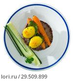 Купить «Beef patty with baked vegetables», фото № 29509899, снято 25 марта 2019 г. (c) Яков Филимонов / Фотобанк Лори