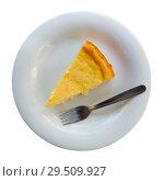 Купить «Slice of homemade cheesecake», фото № 29509927, снято 16 октября 2018 г. (c) Яков Филимонов / Фотобанк Лори