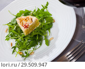 Купить «Camembert on arugula with pine nuts», фото № 29509947, снято 23 июля 2019 г. (c) Яков Филимонов / Фотобанк Лори