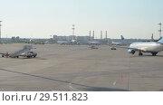 Купить «Official spotting. The plane of the airline Pobeda makes taxiing on the territory of the airport.», видеоролик № 29511823, снято 1 августа 2018 г. (c) Андрей Радченко / Фотобанк Лори